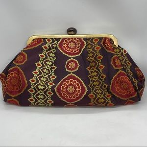 Talbots Silk Damask w Large Jewel Clasp